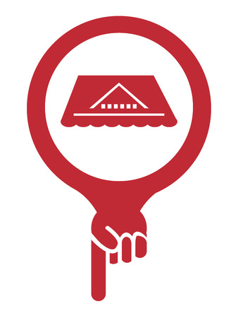 rooftop: Red Map Pointer Icon With Roof, Rooftop or Roof Repair Service Sign Isolated on White Background