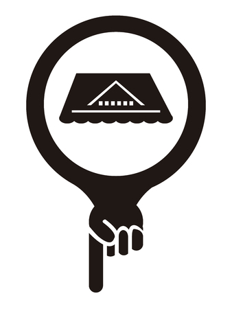 rooftop: Black Map Pointer Icon With Roof, Rooftop or Roof Repair Service Sign Isolated on White Background