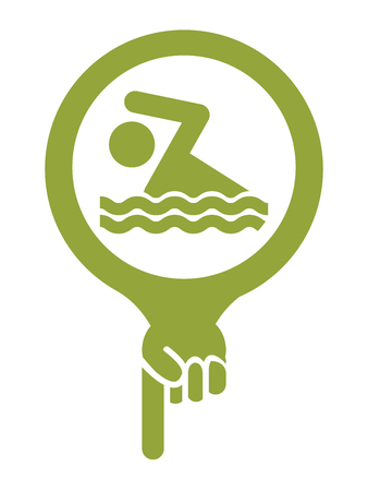 poolside: Green Map Pointer Icon With Swimming Pool or Swimming Equipment Shop Sign Isolated on White Background Stock Photo