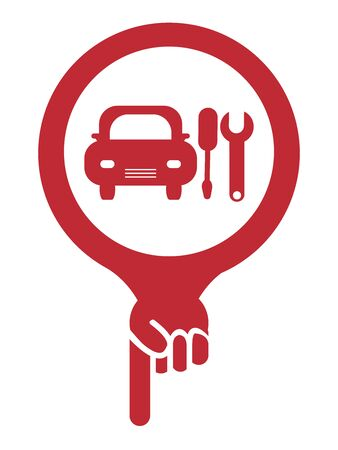 Red Map Pointer Icon With Car Repair and Service Center Sign Isolated on White Background photo