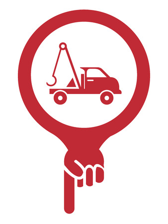 roadside assistance: Red Map Pointer Icon With Tow Car, Roadside Assistance Service Sign Isolated on White Background