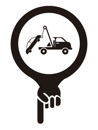 Black Map Pointer Icon With Tow Car, Roadside Assistance Service Sign Isolated on White Background photo