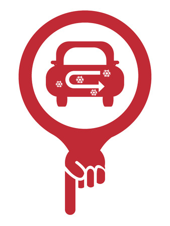 recirculate: Red Map Pointer Icon With Car Air Conditioning Service Sign Isolated on White Background Stock Photo