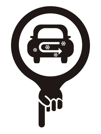 recirculate: Black Map Pointer Icon With Car Air Conditioning Service Sign Isolated on White Background Stock Photo