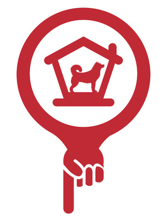dog allowed: Red Map Pointer Icon With Dog Hotel, Dog Welcome or Pet Care Service Sign Isolated on White Background