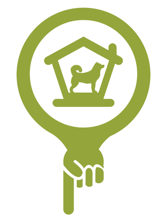 permitted: Green Map Pointer Icon With Dog Hotel, Dog Welcome or Pet Care Service Sign Isolated on White Background