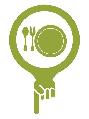 cafeteria: Green Map Pointer Icon With Food Center, Food Court, Cafeteria, Canteen or Restaurant Sign Isolated on White Background