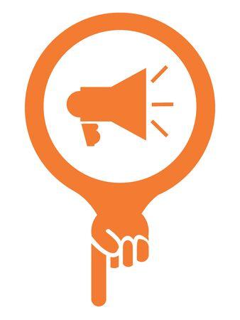 mega phone: Orange Map Pointer Icon With Megaphone Sign Isolated on White Background Stock Photo