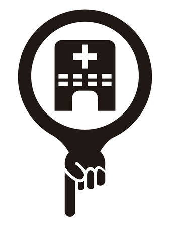 medical center: Black Map Pointer Icon With Clinic, Medical Center or Hospital Sign Isolated on White Background Stock Photo