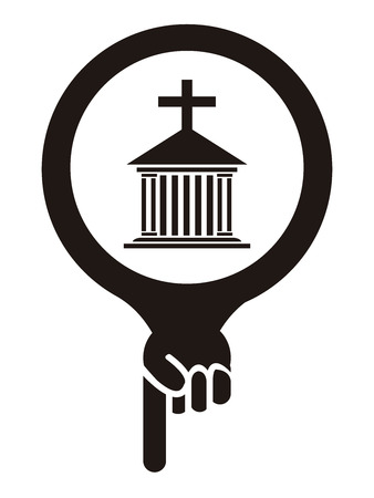 holy place: Black Map Pointer Icon With Church, Cathedral or Temple Sign Isolated on White Background Stock Photo