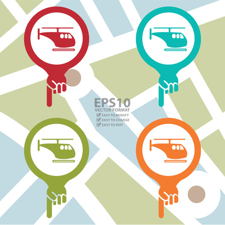poi: Colorful Map Pointer Icon With Helicopter or Helicopter Parking Sign in POI Map Background
