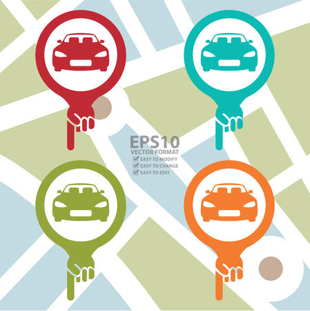 car showroom: Colorful Map Pointer Icon With Car, Car Showroom, Car Rental Service or Car Park Sign in POI Map Background Illustration