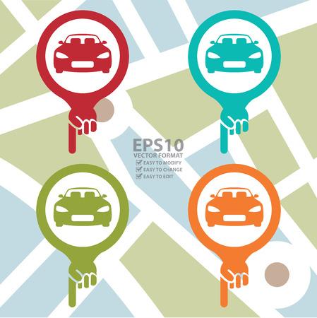 car showroom: Colorido icono en el Mapa Puntero con el coche, Sal�n de Coches, Servicio de Alquiler de coches o Parking Entrar PDI Mapa de fondo