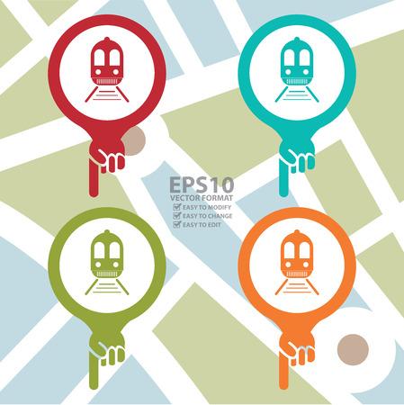 estación del metro: Icono en el Mapa del puntero con el tren, la estaci�n de metro o la estaci�n de tren Entra PDI Mapa de fondo Vectores