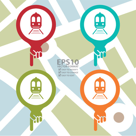 electric tram: Map Pointer Icon With Train, Subway Station or Railway Station Sign in POI Map Background Illustration