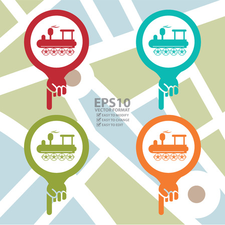 high speed railway: Colorful Map Pointer Icon With Train, Tram or Railway Station Sign in POI Map Background