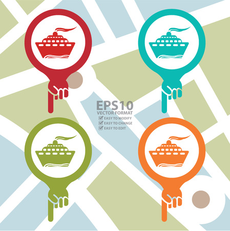 Colorful Map Pointer Icon With Seaport, Harbour ,Boat, Ferry Boat Sign in POI Map Background