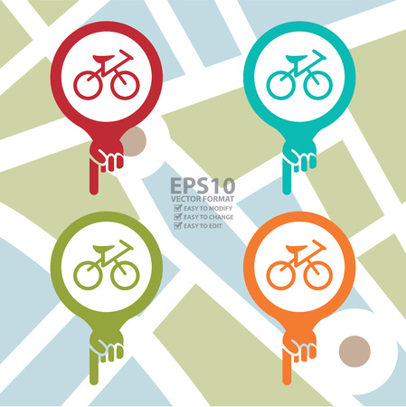 Colorful Map Pointer Icon With Bicycle, Bicycle Shop or Bicycle Parking Sign in POI Map background Vector