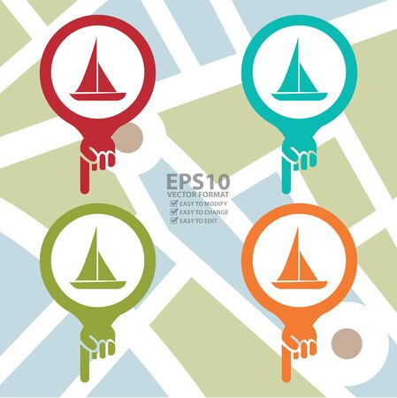 Vector : Colorful Map Pointer Icon With Sailboat, Seaport, Sea Transportation, Sea, Beach, Ocean or Bay Sign in POI Map background Illustration