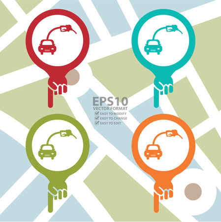 Colorful Map Pointer Icon With Filling Station or Petrol Station Sign in POI Map Background Vector