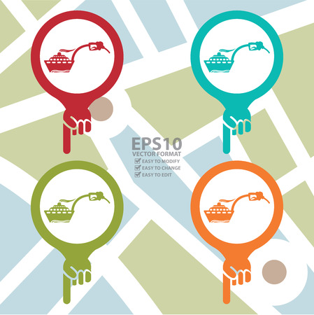 ferry boat: Colorful Map Pointer Icon With Boat or Ferry Boat Petrol Station Sign in POI Map Background Illustration