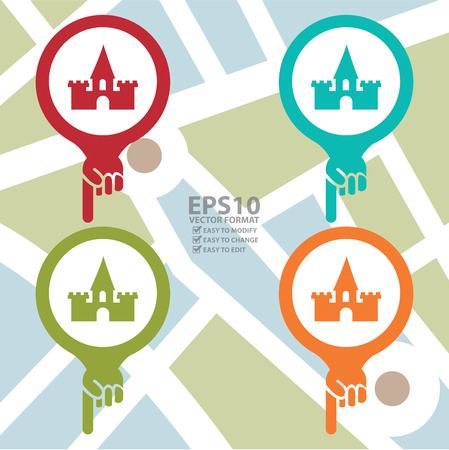 Vector : Colorful Map Pointer Icon With Palace, Historical Place or Amusement Park Sign in POI Map Background Vector
