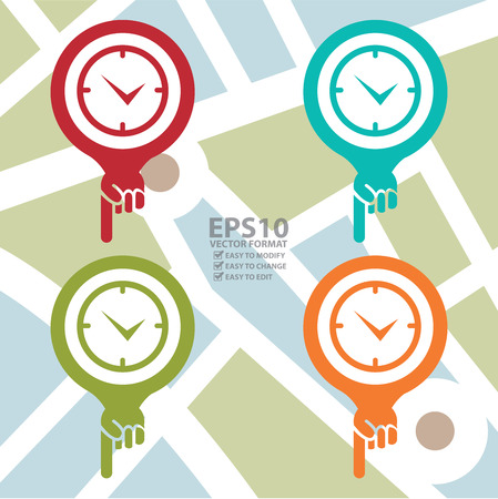 poi: Colorful Map Pointer Icon With Wall Clock Shop Sign in POI Map Background