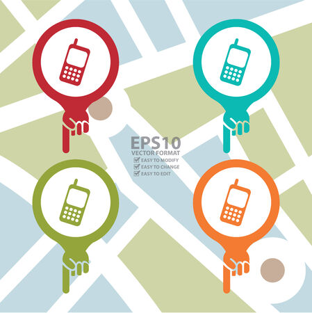 contact details: Colorful Map Pointer Icon With Telephone Service, Mobile Phone Shop Sign in POI Map Background Illustration