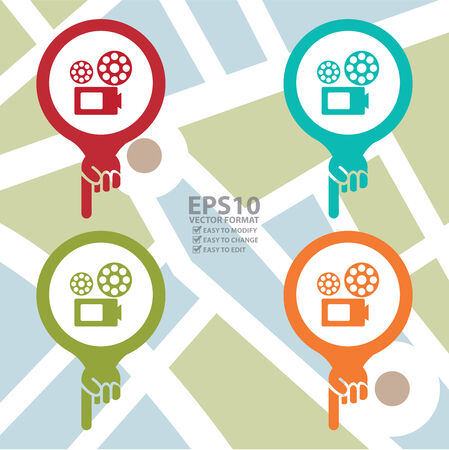 Colorful Map Pointer Icon With VDO Camera, Movie Theater, Cinema or Travel Attraction Sign in POI Map Background Vector