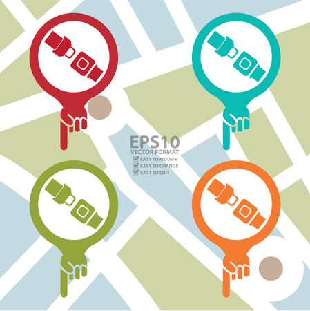buckled: Colorful Map Pointer Icon With Seat Belt or Safety Belt Shop Sign in POI Map Background