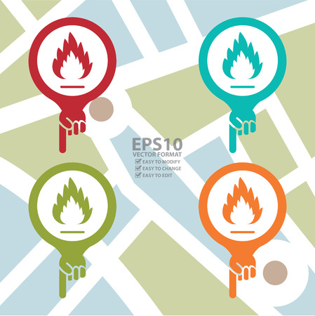 burnable: Map Pointer Icon With Fireplace or Fire Alarm Sign in POI Map Background