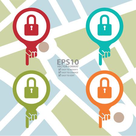 schlosser: Bunte Karte Pointer Icon Mit Key Lock-Shop oder Schlosser Anmelden POI Karte Hintergrund