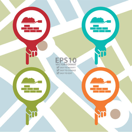 poi: Colorful Map Pointer Icon With Construction Materials Shop or Construction Service Sign in POI Map Background