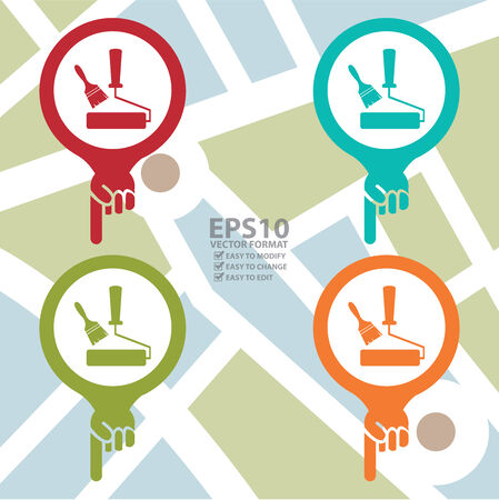 redecorate: Colorful Map Pointer Icon With Paintbrush or Painting Service Sign in POI Map Background Illustration