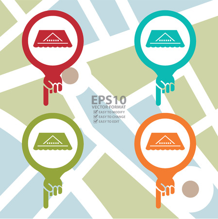 rooftop: Colorful Map Pointer Icon With Roof, Rooftop or Roof Repair Service Sign in POI Map Background