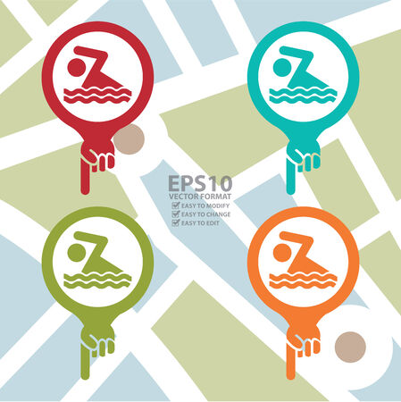 poolside: Colorful Map Pointer Icon With Swimming Pool or Swimming Equipment Shop Sign in POI Map Background
