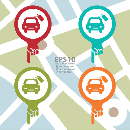 poi: Colorful Map Pointer Icon With Color Car Scratch Repair Service Center Sign in POI Map Background