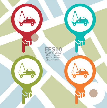 the roadside: Colorful Map Pointer Icon With Tow Car, Roadside Assistance Service Sign in POI Map Background