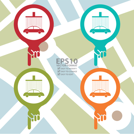 poi: Colorful Map Pointer Icon With Car Care or Car Wash Center Sign in POI Map Background Illustration