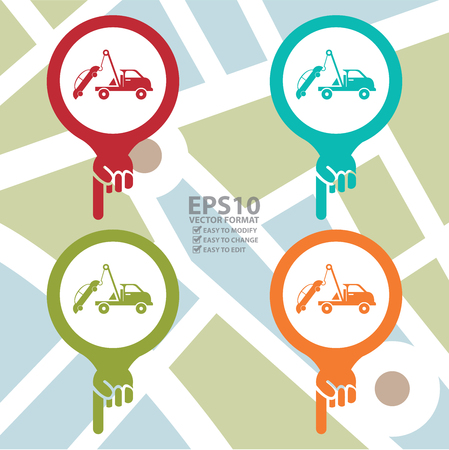 Map Pointer Icon With Tow Car Service Sign in POI Map Background Vector