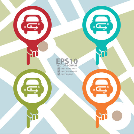 recirculate: Colorful Map Pointer Icon With Car Air Conditioning Service Sign in POI Map Background Illustration