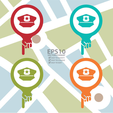 poi: Colorful Map Pointer Icon With Police Station Sign in POI Map Background