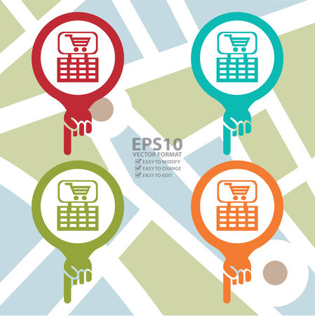 market place: Colorful Map Pointer Icon With Shopping Plaza , Market Place or Department Store Sign in POI Map Background