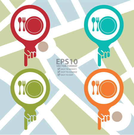 Colorful Map Pointer Icon With Food Center, Food Court, Cafeteria, Canteen or Restaurant Sign in POI Map Background Vector