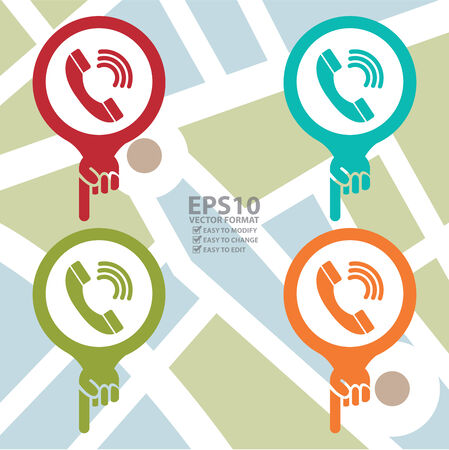 Colorful Map Pointer Icon With Telephone Box, Telephone Booth or Call Center Service Sign in POI Map Background Vector