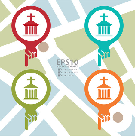 holy place: Colorful Map Pointer Icon With Church, Cathedral or Temple Sign in POI Map Background