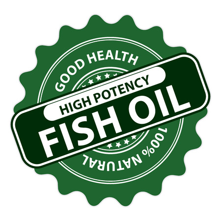 potency: Green High Potency Fish Oil, Good Health, 100 Percent Natural Icon, Label, Sticker, Stamp or Badge Isolated on White Background Stock Photo