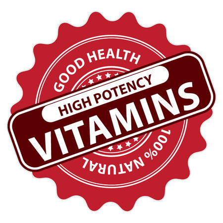 multivitamin: Red High Potency Vitamins, Good Health, 100 Percent Natural Icon, Label, Sticker, Stamp or Badge Isolated on White Background Stock Photo