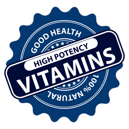 vitamine: Blue High Potency Vitamins, Good Health, 100 Percent Natural Icon, Label, Sticker, Stamp or Badge Isolated on White Background