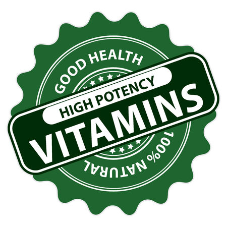 multivitamin: Green High Potency Vitamins, Good Health, 100 Percent Natural Icon, Label, Sticker, Stamp or Badge Isolated on White Background